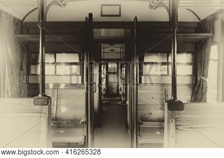 Vintage Looking Photo Of An Italian Carrozza Centoporte, Early Xx Century Compartment Coach For Thir