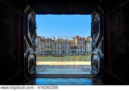The Grand Canal In Venice Seen Through An Ancient Portal