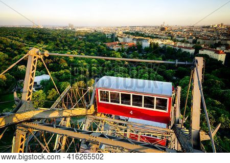 Sunset Panorama Of Vienna From The Famous Prater Riesenrad, Old Giant Ferris Wheel And Famous Landma