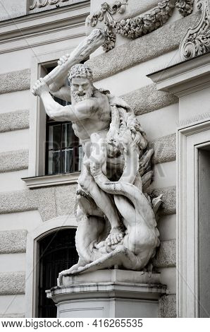 Statue Of Heracles Defeating The Lernaean Hydra In Vienna, Detail Of Hofburg Imperial Palace Facade