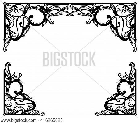 Antique Style Calligraphic Floral Ornament Forming Copy Space Frame -  Black And White Vintage Vecto
