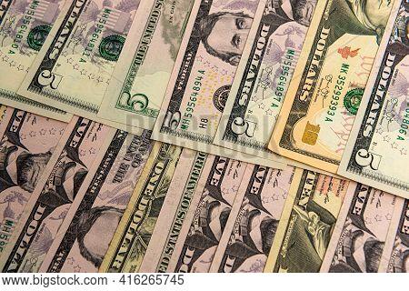 Closeup American Dollars Banknotes Background, Us Dollars Pattern, Dollars Bills Background