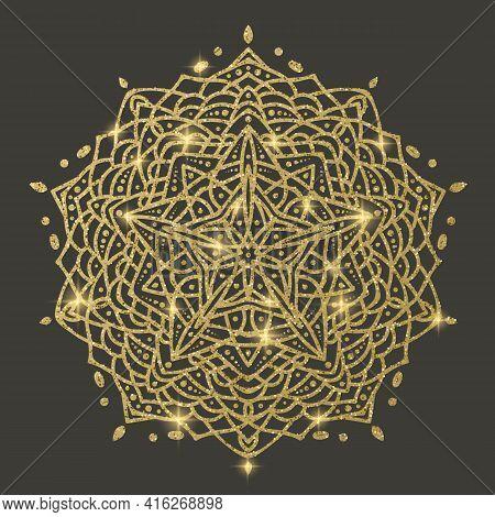 Golden Mandala On Dark Background, Mandala With Glitter Texture Vector Illustration