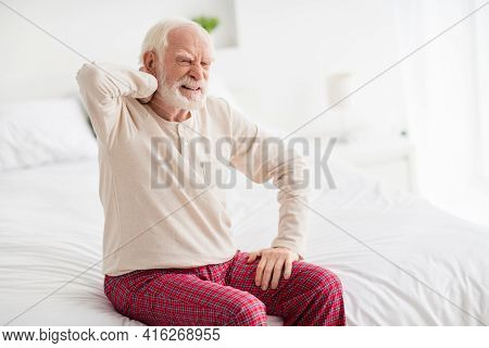 Photo Of Aged Man Pensioner Sit On Bed House Indoors Unhappy Sad Upset Hand Touch Shoulders Pain Spa