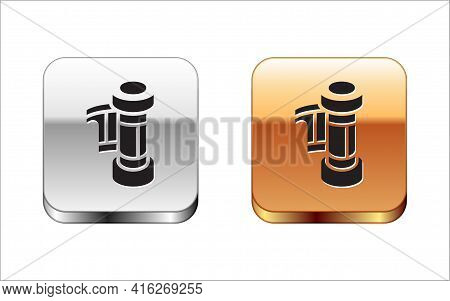 Black Camera Vintage Film Roll Cartridge Icon Isolated On White Background. 35mm Film Canister. Film