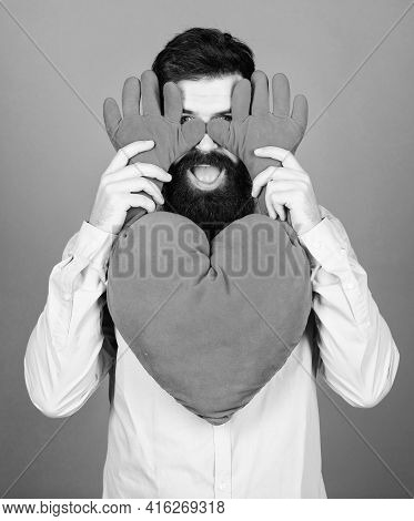 Feeling Love. Dating And Relations Concept. Happy In Love. Physical Touch. Free Hugs. Man Bearded Hi