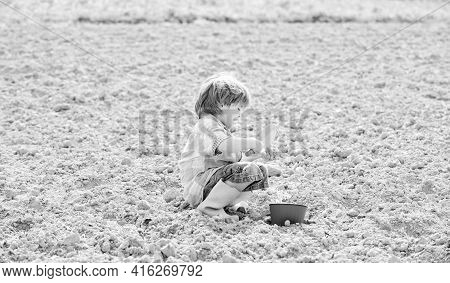 Small Kid Planting A Flower. Earth Day. New Life. Summer Farm. Happy Child Gardener. Botanic Worker.