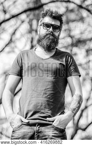 Man Bearded With Sunglasses Nature Background. Bearded Man Wear Modern Fashionable Sunglasses. Hipst
