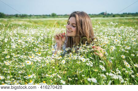 Happy Woman Gather Flowers In Summer Chamomile Field, Youth