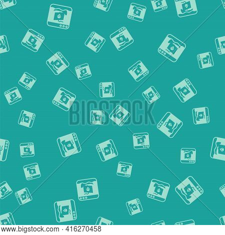Green Internet Piracy Icon Isolated Seamless Pattern On Green Background. Online Piracy. Cyberspace