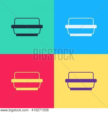 Pop Art Butter In A Butter Dish Icon Isolated On Color Background. Butter Brick On Plate. Milk Based