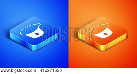 Isometric Yogurt Container Icon Isolated On Blue And Orange Background. Yogurt In Plastic Cup. Squar