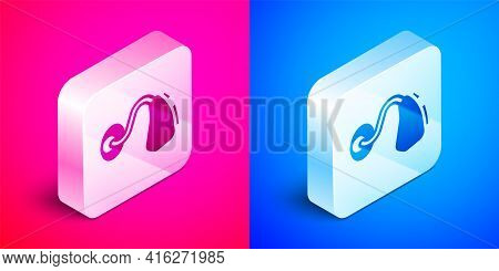 Isometric Hearing Aid Icon Isolated On Pink And Blue Background. Hearing And Ear. Silver Square Butt