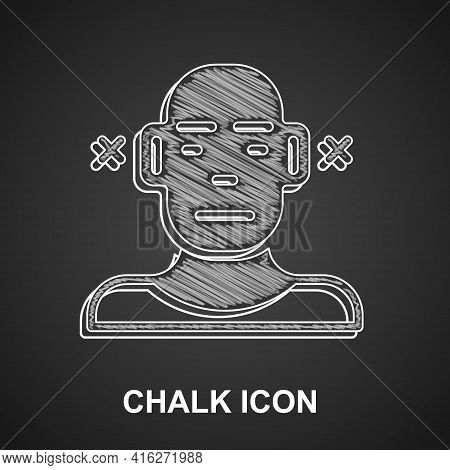 Chalk Deafness Icon Isolated On Black Background. Deaf Symbol. Hearing Impairment. Vector