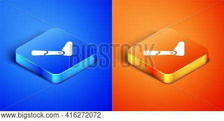 Isometric Prosthesis Leg Icon Isolated On Blue And Orange Background. Futuristic Concept Of Bionic L