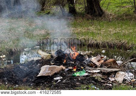 Burning Domestic Garbage, Household Waste In A Fire In The Forest. The Problem Of Garbage Collection