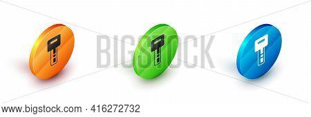Isometric Car Key With Remote Icon Isolated On White Background. Car Key And Alarm System. Circle Bu
