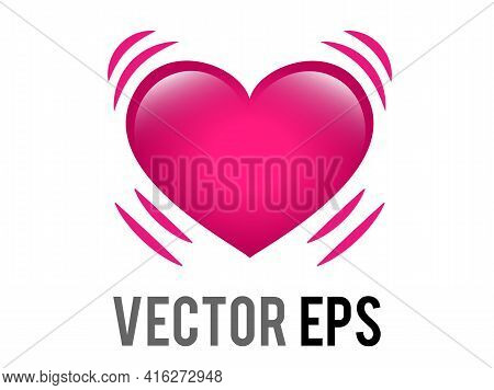 The Isolated Vector Glossy Pink Beating Heart Icon With Vibration Movement Lines, Representing Eithe