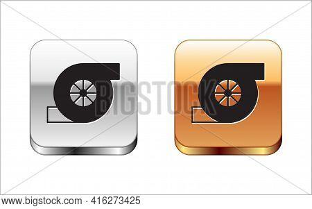 Black Automotive Turbocharger Icon Isolated On White Background. Vehicle Performance Turbo. Turbo Co