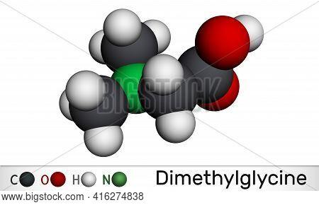 Dimethylglycine, Dmg, N,n-dimethylglycine Molecule. It Is Derivative Of The Amino Acid Glycine. Mole
