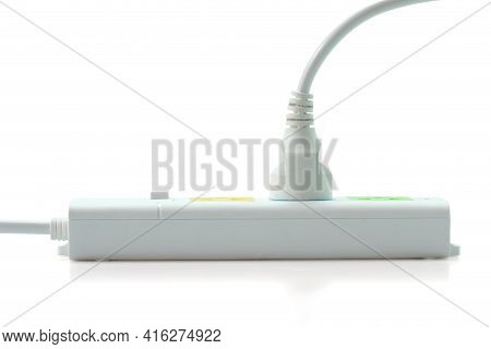 Electric Plug And Multiple Socket With Connected Plugs Isolated On White Backhround. With Clipping P