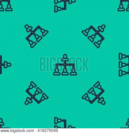 Blue Line Business Hierarchy Organogram Chart Infographics Icon Isolated Seamless Pattern On Green B