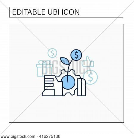 Economic Expansion Line Icon.increase In Economic Level Activity. Rise In Gdp. Universal Basic Incom