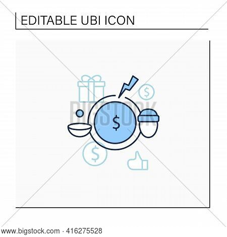 Breaking Poverty Cycle Line Icon. Unemployment Benefit. State Assistance.universal Basic Income Conc