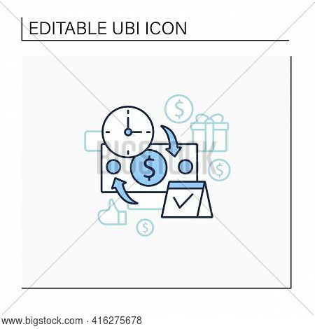 Periodic Payment Line Icon. Recurring Payments. Contribute Funds As Scheduled. Universal Basic Incom