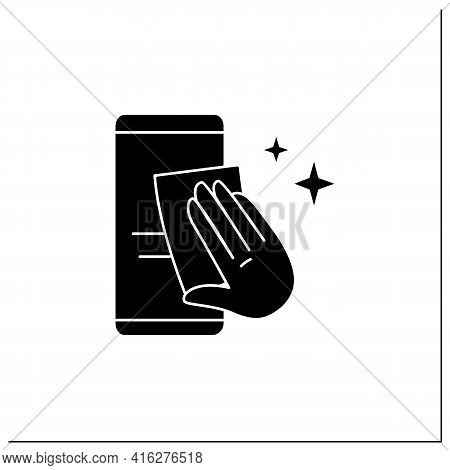 Smartphone Disinfection Glyph Icon. Wiping Mobile Phone Display With Cleaning Cloth. Hygiene And Cov