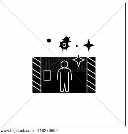 Disinfection Tunnel Glyph Icon. Person Walk In Antibacterial Solution Filled Tunnel. Corona Virus In