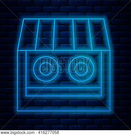 Glowing Neon Line Shooting Gallery Icon Isolated On Brick Wall Background. Shooting Range. Vector