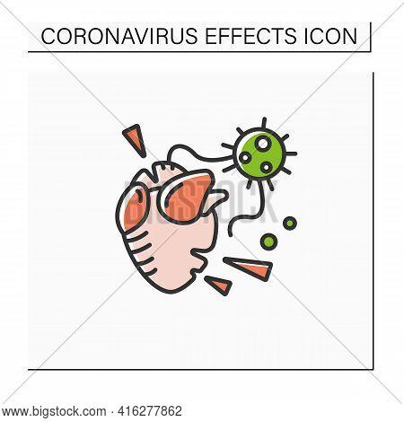 Heart Attack Color Icon. Covid Molecule Causing Heart Failure. Concept Of Corona Virus Cardio Health