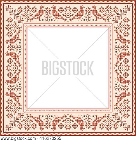 Vector Traditional Folk Cross Stitch Ornament (frame Or Tablecloth)
