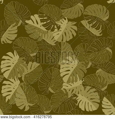 Green Vector Illustration Of Leaves Monstera. Seamless Pattern