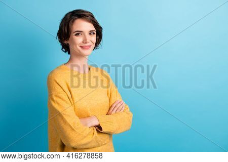 Photo Portrait Of Pretty Girl With Bob Hairstyle Folded Hands Smiling Isolated On Bright Blue Color