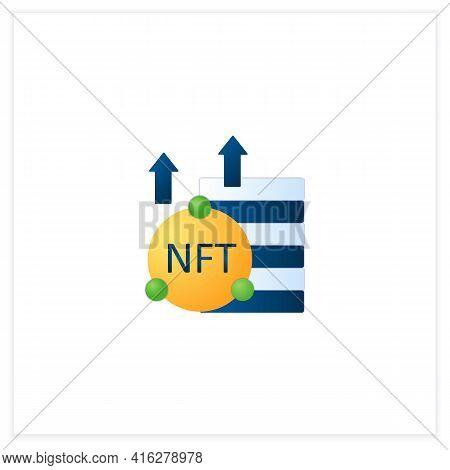 Nft Asset Flat Icon. Unique Digital Assets. Growth. Cryptocurrency Concept. 3d Vector Illustration