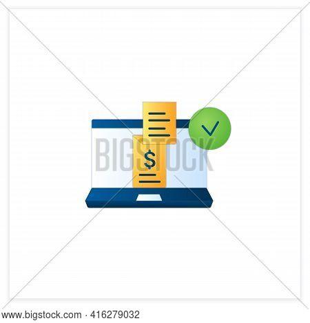 Digital Receipt Flat Icon. E Receipt. Application Inform Customers Of Rebates, Discounts. Sent Via E