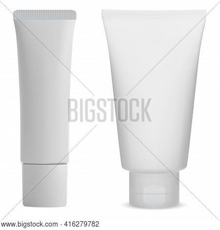 White Cream Tube Side Mockup. Tooth Paste Package Blank. Facial Care Gel Or Lotion, Realistic Templa