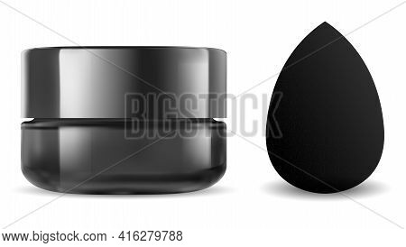 Black Cosmetic Jar. Makeup Sponge, Beauty Blender Mockup. Face Powder Blanding Applicator 3d Blank.