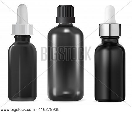 Glass Serum Bottle, Essential Oil Cosmetic Mockup. Beauty Serum Vial, Small Collagen Apothecary Cont