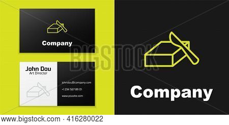 Logotype Line Butter In A Butter Dish Icon Isolated On Black Background. Butter Brick On Plate. Milk