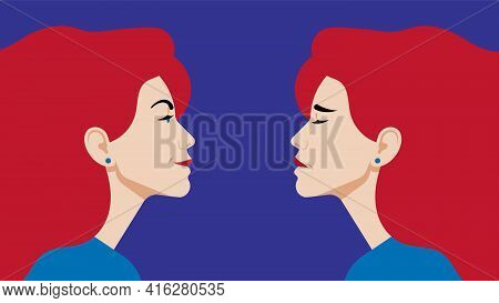 Bipolar Disorder. Portrait Of Woman In Profile In Depression And In A Good Mood. Two Female Faces Fr