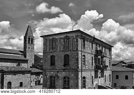 Stone, Historic Buildings In The Town Of Magliano In Toscana, Italy, Monochrome