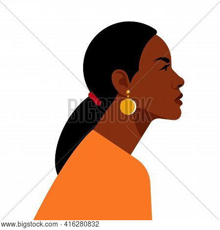 Beautiful Black Woman. Young African American. Portrait Of Young Woman With Beautiful Face And Ponyt