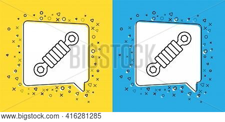 Set Line Shock Absorber Icon Isolated On Yellow And Blue Background. Vector