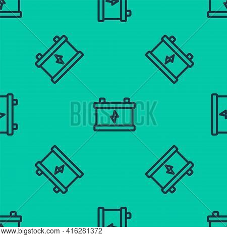 Blue Line Car Battery Icon Isolated Seamless Pattern On Green Background. Accumulator Battery Energy