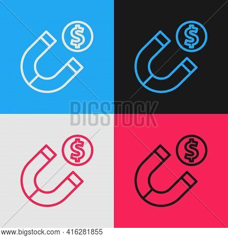 Pop Art Line Magnet With Money Icon Isolated On Color Background. Concept Of Attracting Investments.