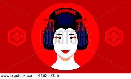 Geisha Portrait - Japanese Geisha With Make-up, Hairstyle, Hairpins. Close-up Female Face On Red Bac