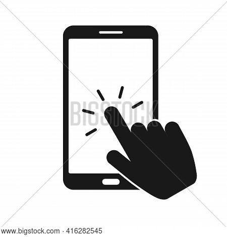 Touch Screen Smartphone Sign Icon. Hand Pointer Symbol. Flat Design Style. Vector